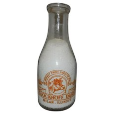 Vintage Pyro Glaze Glockhoff Dairy Quart Milk Bottle from Milan Illinois