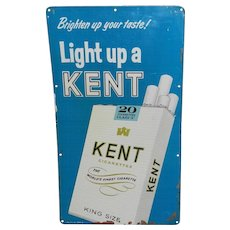 Vintage Kent Cigarette Tin Advertising Sign