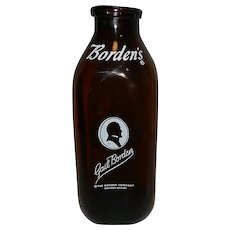 Vintage Gail Borden Square Milk Bottle Amber 1 Quart .