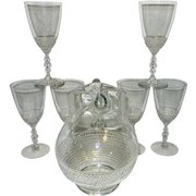 Vintage Duncan Miller Teardrop Pattern #5301 Pitcher and Water Goblets