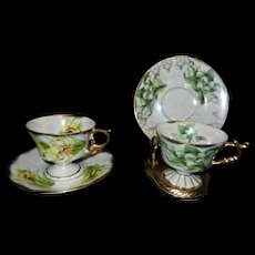 Vintage 1950's Japanese May Lily of the Valley March Daffodil Cup and Saucers- Teacups