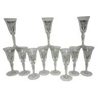 Vintage Cordials Intaglio Stemware