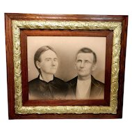 Antique Charcoal Picture and Oak and Gesso Frame