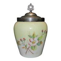 Vintage Custard Glass Biscuit Jar-Apple Blossoms