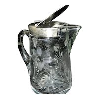 Vintage Intaglio Syrup Pitcher with Metal Top
