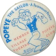 Vintage Popeye the Sailor Pinback Button- Paramount Pictures- King Features Syndicate