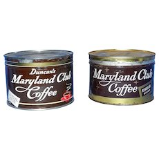 Vintage One Pound Duncan Maryland Club Key Wind Coffee Tin
