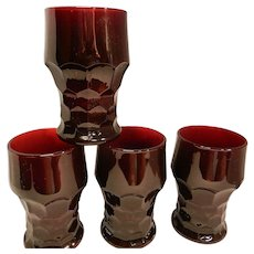 Vintage Ruby Red  Mid Century Georgian 10 ounce Tumblers by Anchor Hocking