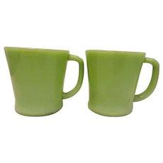 Vintage Fire King Jadite D Handle Coffee Mugs- set of 8 Circa 1950's