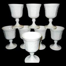 Vintage Milk Glass Goblets Harvest Pattern Indiana Glass