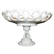 Vintage  Doric Border Lace Edge Westmoreland Milk Glass Pedestal Bowl