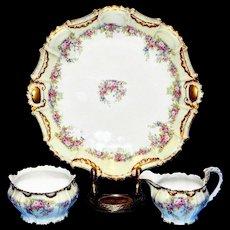 Antique Flambeau Limoges Porcelain Hand Painted Platter-Sugar and Creamer