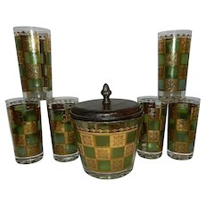 Vintage Mid Century 22 kt Gold and Green High Ball Glasses and Ice Bucket