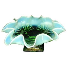 Vintage Jefferson Green Opalescent Beaded Fan Square Footed Candy Dish Bowl-
