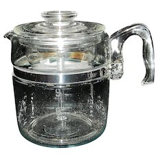 Vintage Pyrex Flameware 6-9 Cup Stove Top Coffee Pot Percolator