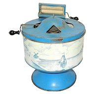Vintage Wolverine Delft Dutch Blue Tin Litho Toy Washing Machine with Wringer Washer