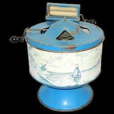 Vintage Wolverine Delft Dutch Blue Tin Litho Toy Washing Machine with Wringer Washer