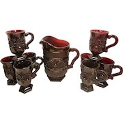 Vintage 1876 Avon Cape Cod Pattern Ruby Pitcher and Mugs