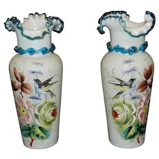 Antique Victorian Bristol Waffle Glass Hand Blown and Painted Vases
