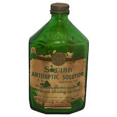 Vintage Squibb Drug Store or Pharmacy Antiseptic Bottle - Red Tag Sale Item