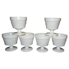 Vintage Mid Century Grape and Leaf Stippled Milk Glass Sherbet Bowls