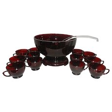 Vintage Mid Century Anchor Hocking Royal Ruby Punch Bowl with Stand, Cups Red Plastic Ladle