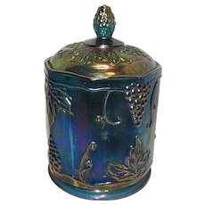Vintage Blue Harvest Grape Carnival Glass Canister or Candy Jar by Indiana Glass