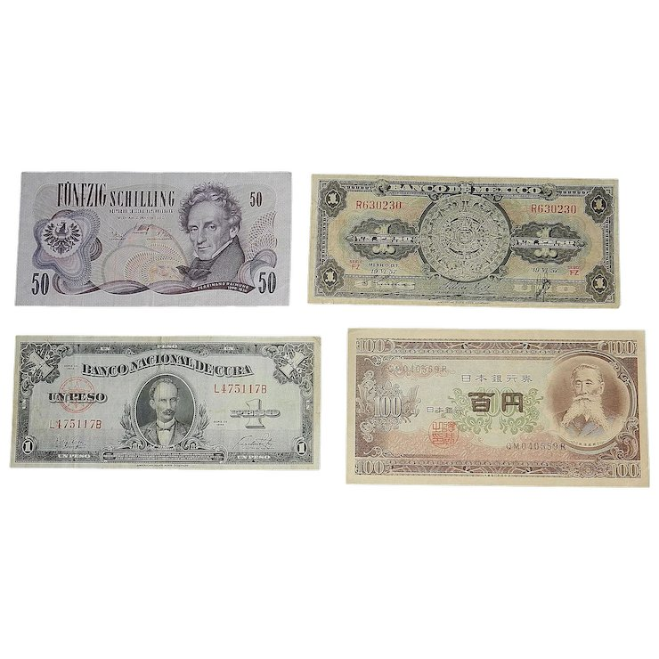 Vintage Foreign Currency Mexico Cuba An Austria My Grandmother Had One Ruby Lane