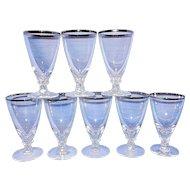 Vintage Fostoria Wedding Ring Platinum Trim Juice Glasses