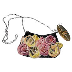 Vintage Mary Frances Mini Rose Hand Bag with Strap