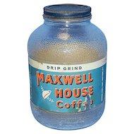 Vintage Maxwell House Coffee Jar with Original Label