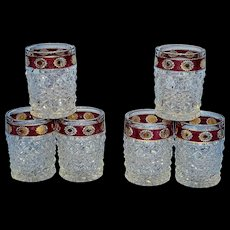 Vintage EAPG Ruby Flashed Diamond Point Rocks or Old Fashioned Glasses