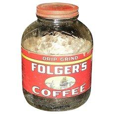 Vintage Folgers Glass Coffee Jar