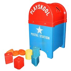 Vintage Playskool Postal Station Mailbox with Blue Wood Base