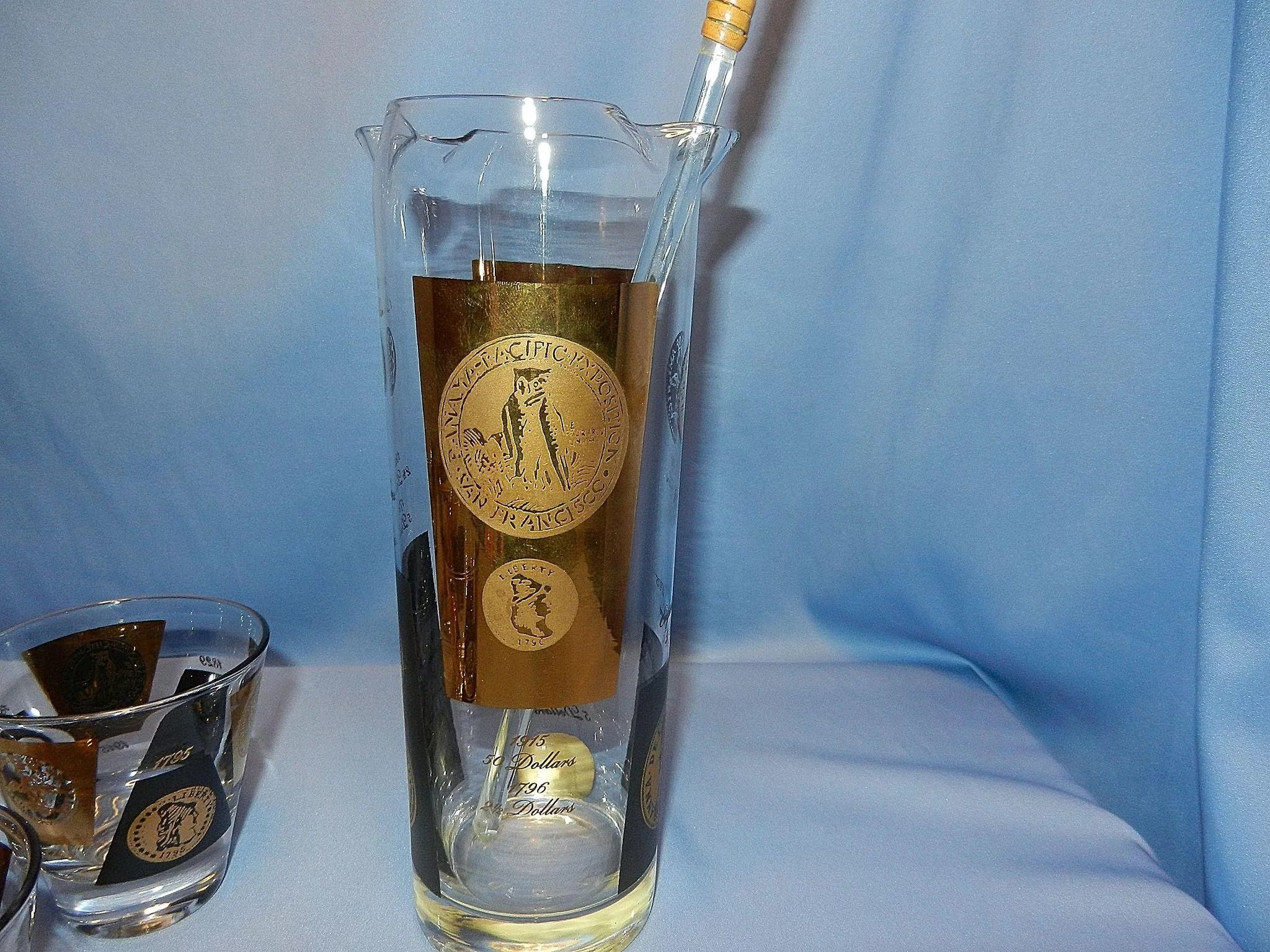 Vintage Mid Century Ceraglass American Gold Coin Cocktail