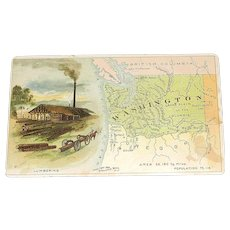 Antique Arbuckle Bros. Coffee Co. Washington State Trade Card no.78: Map and Vignette Illustrations