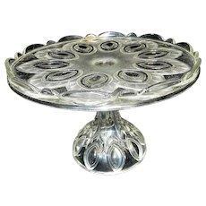 Vintage Oval Cat Eye Designed Pedestal Cake Plate