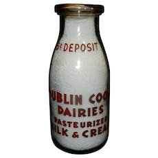 Vintage Pyro War Pint Milk Bottle Dublin Coop. Dublin Georgia