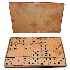 Vintage Double Six Set of Catalin Dominoes by Cardinal