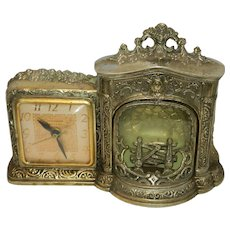 Vintage United Fireplace Mantle Clock with Motion Log