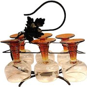 Vintage Roemer German Grape Etched Cordials or Wine Glasses with Amber Base and Iron Storage Rack