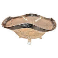 Vintage Four Toed Fluted Crystal Bowl with Silver Rim