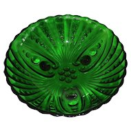 Vintage Anchor Hocking Glass Forest Green Bowl Burple Pattern