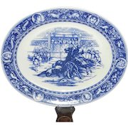 "Antique Wedgwood Ivanhoe Flo Blue 19"" Oval Serving Platter – 1876 Ivanhoe Overthrows Templar"
