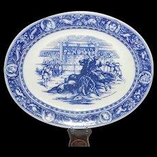 "Antique Wedgwood Ivanhoe Flo Blue 19"" Oval Serving Platter – 1876 Ivanhoe Overthrows Templar"
