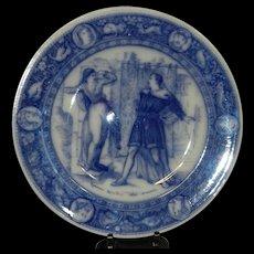 "Antique Wedgwood Ivanhoe Flow Blue 10"" Dinner Plate -Rebecca Repelling the Templar – Victorian Era"