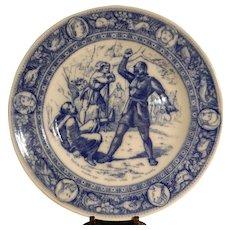 "Antique Victorian Era Wedgwood Ivanhoe Flo Blue 10"" Dinner Plate"