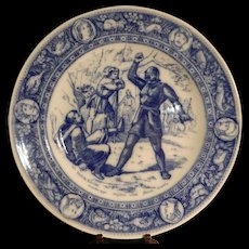 """Antique Wedgwood Ivanhoe Flo Blue 10"""" Dinner Plate - The Black Knight and Friar Tuck."""