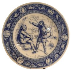 "Antique Wedgwood Ivanhoe Flow Blue 10"" Dinner Plate –Wambergurg and Shepard – Victorian Era"