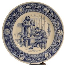 "Antique Wedgwood Ivanhoe Flow Blue 10"" Dinner Plate –Friar Tuck and Black Knight-  Victorian Era"